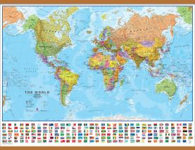 Large World Wall Map Political with flags (Rolled Canvas with Wooden Hanging Bars)