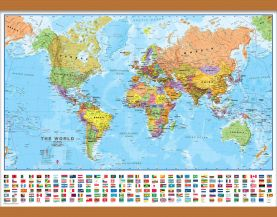 Medium World Wall Map Political with flags (Wooden hanging bars)