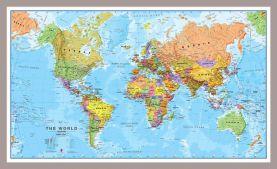 Medium World Wall Map Political (Pinboard & framed - Silver)
