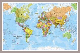 Small World Wall Map Political (Pinboard & framed - Silver)