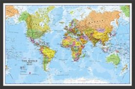 Small World Wall Map Political (Wood Frame - Black)