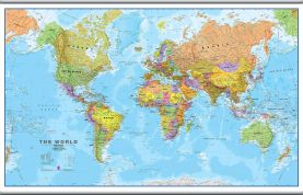 Large World Wall Map Political (Hanging bars)