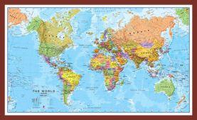 Medium World Wall Map Political (Pinboard & framed - Dark Oak)