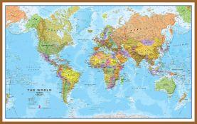 Large World Wall Map Political (Wood Frame - Teak)