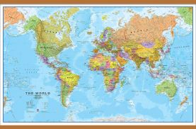 Large World Wall Map Political (Wooden hanging bars)