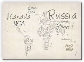Large Writing Text Map of the World (Canvas)