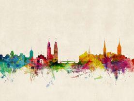 Zurich Switzerland Watercolour Skyline