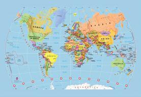 Blue Children's World Map Wallpaper