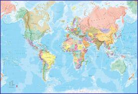 Giant World Map Mural - Blue Ocean (Mural)