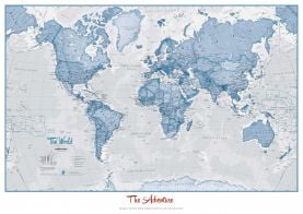 Personalised World Is Art - Wall Map Blue