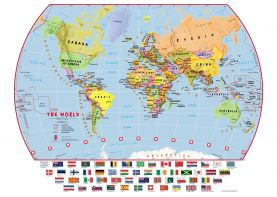 Primary World Wall Map Political with flags