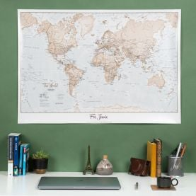 Personalised World Is Art - Wall Map Neutral