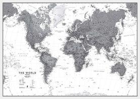 World Wall Map Political Black & White