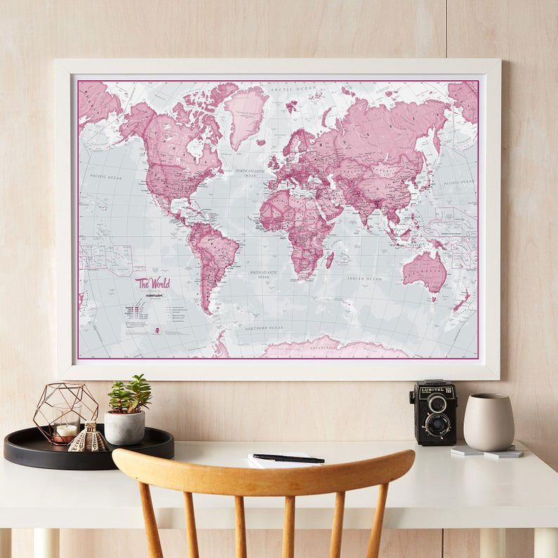 The World Is Art - Wall Map Pink