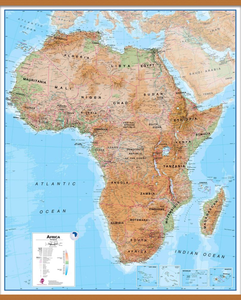 Large Africa Wall Map Physical (Wooden hanging bars)