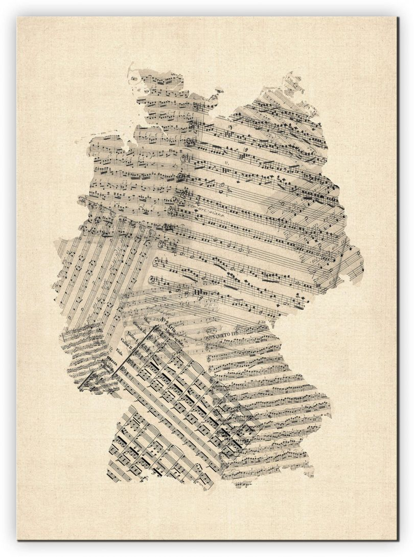 Small Old Sheet Music Art Map of Germany (Canvas)