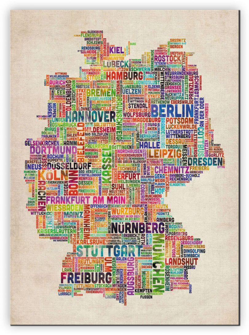 Medium Text Art Map of Germany (Canvas)