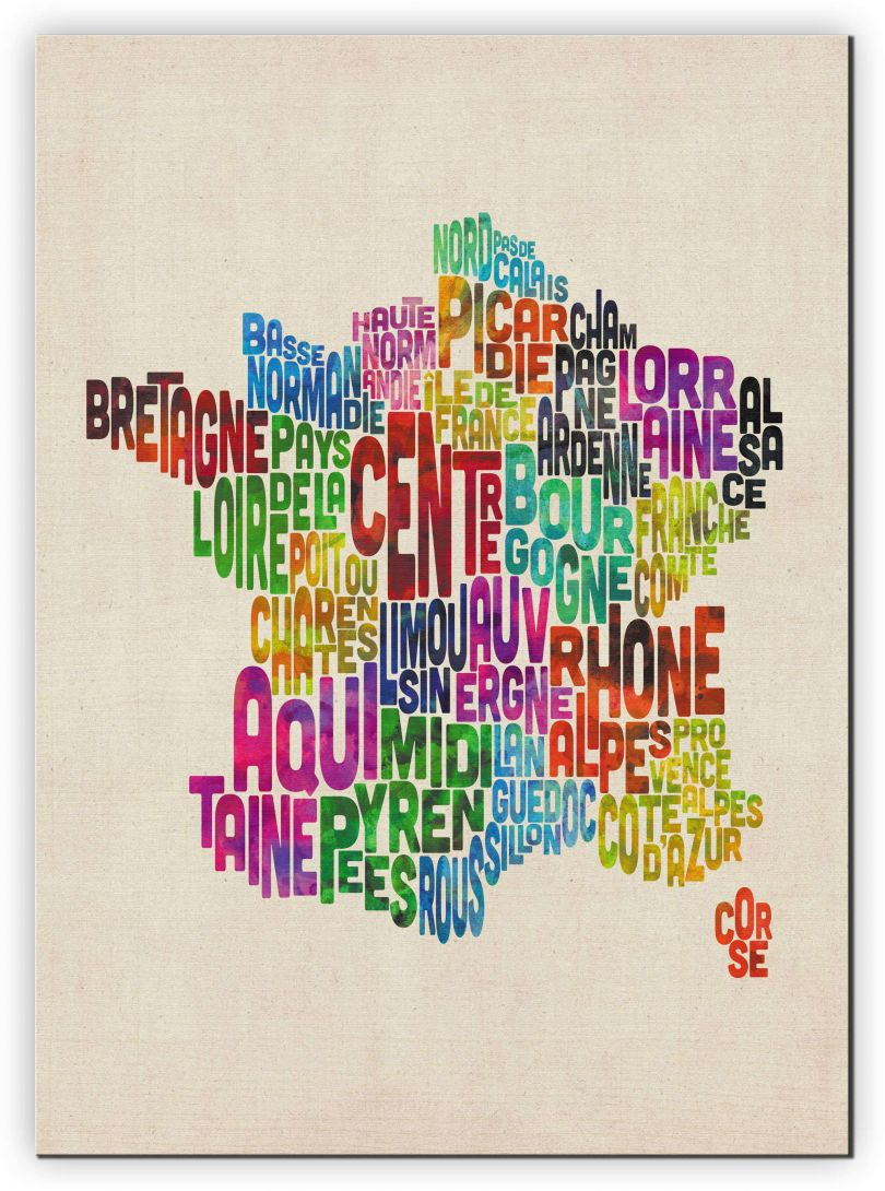 Extra Small Text Art Map of France (Canvas)