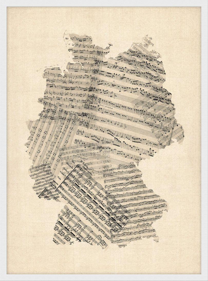 Medium Old Sheet Music Art Map of Germany (Wood Frame - White)