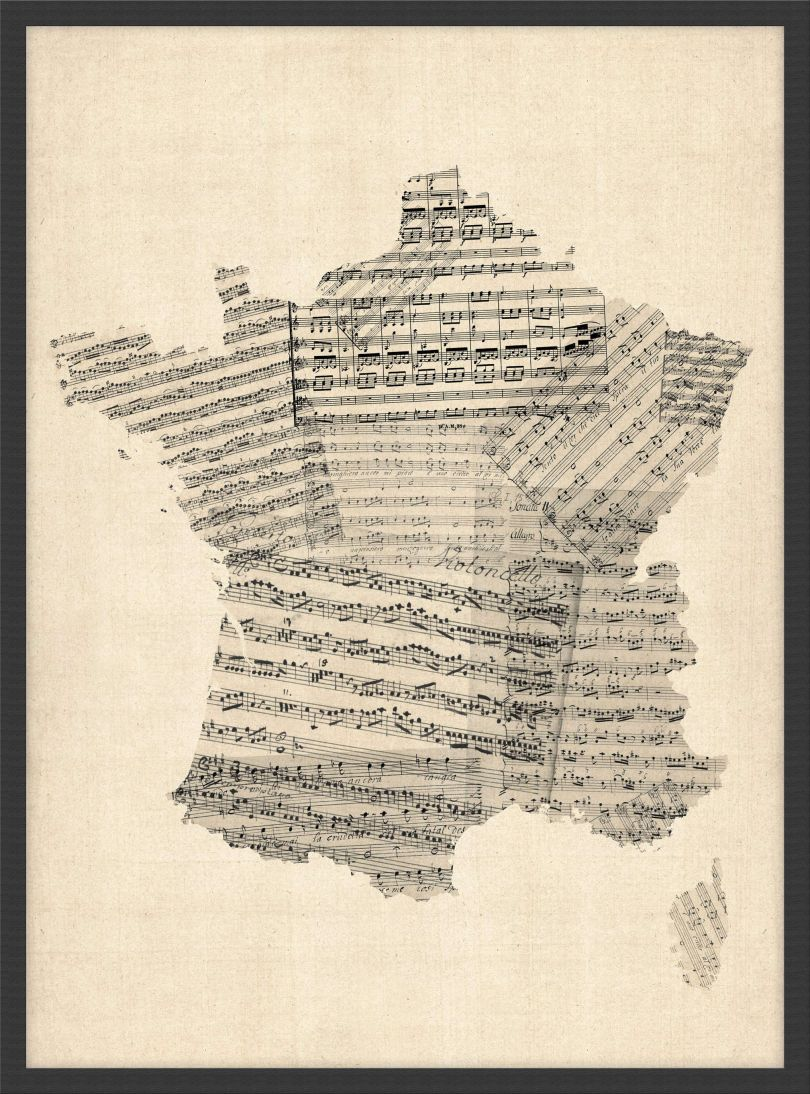 Small Old Sheet Music Map of France (Wood Frame - Black)