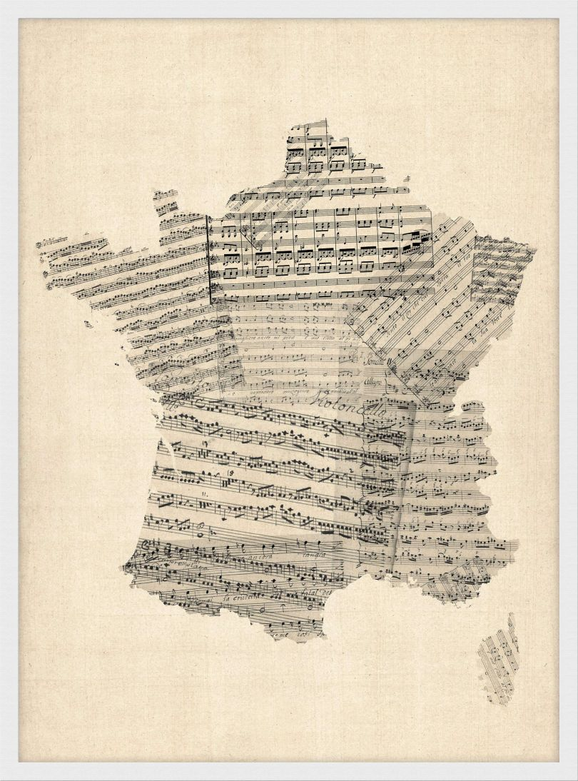 Small Old Sheet Music Map of France (Wood Frame - White)