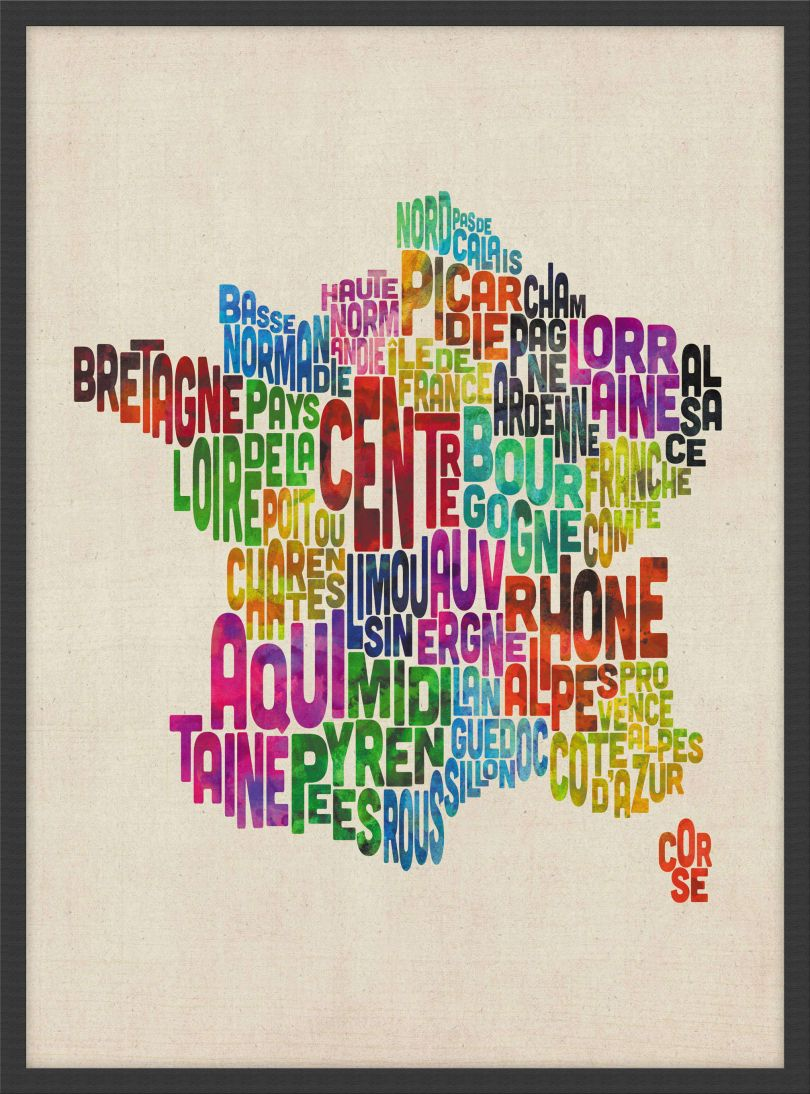 Small Text Art Map of France (Wood Frame - Black)