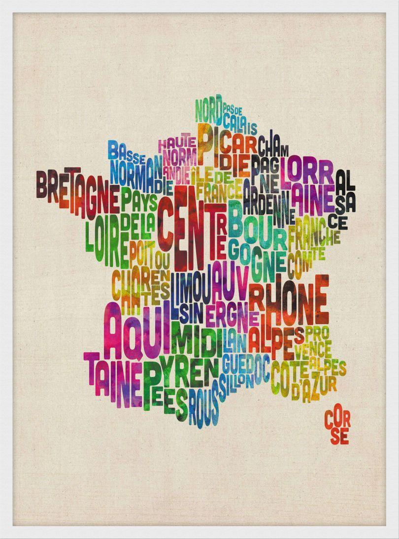 Medium Text Art Map of France (Wood Frame - White)
