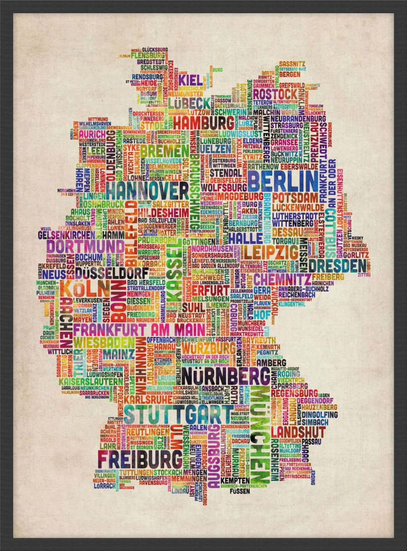 Small Text Art Map of Germany (Wood Frame - Black)