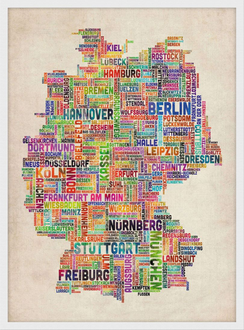 Small Text Art Map of Germany (Wood Frame - White)