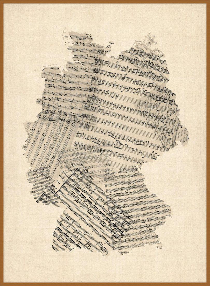 Large Old Sheet Music Art Map of Germany (Wood Frame - Teak)