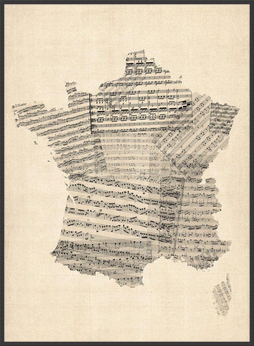 Large Old Sheet Music Map of France (Wood Frame - Black)