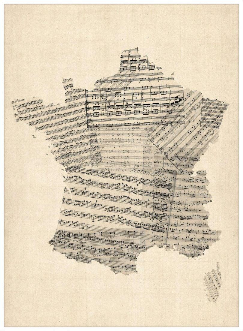 Large Old Sheet Music Map of France (Wood Frame - White)