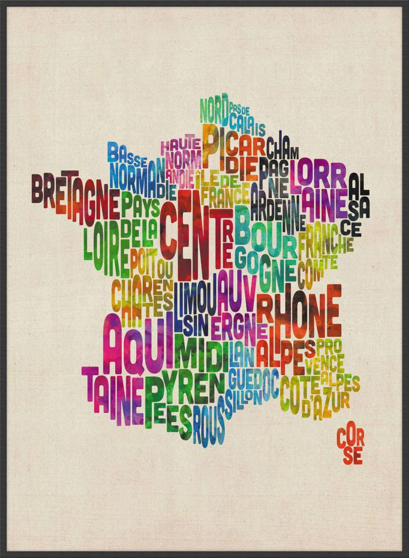 Large Text Art Map of France (Pinboard & wood frame - Black)