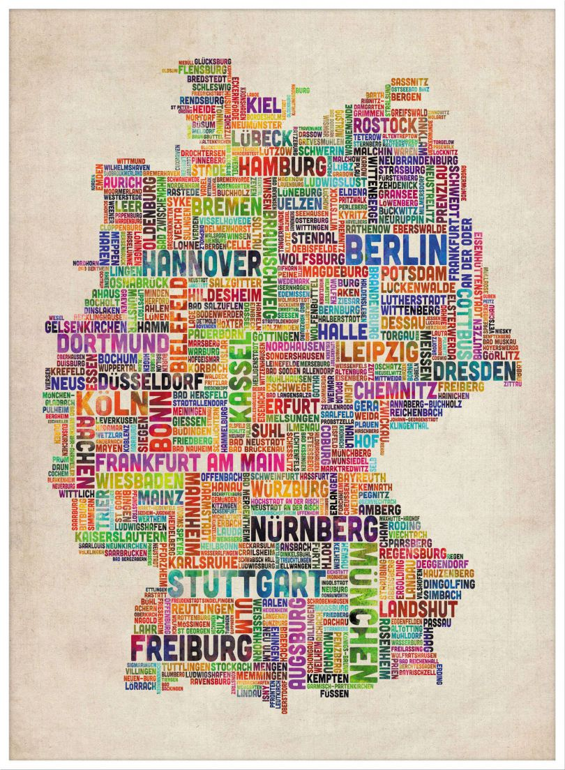 Large Text Art Map of Germany (Pinboard & wood frame - White)