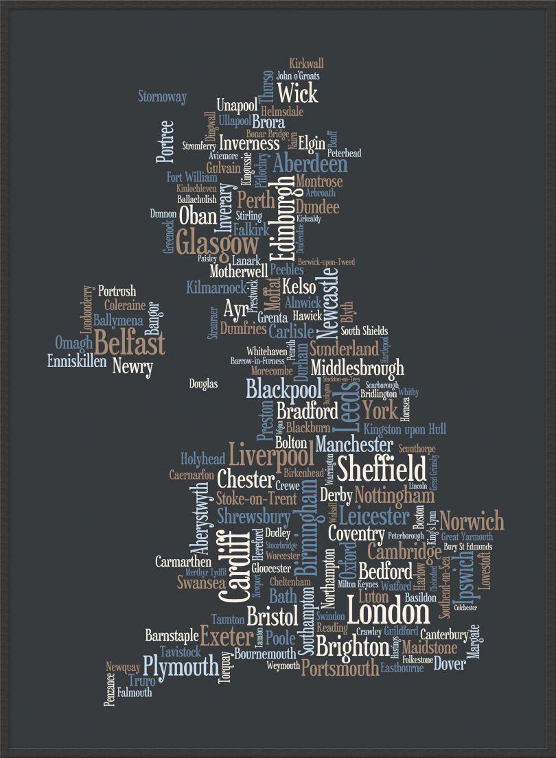 Large Great Britain UK City Text Art Map - Black (Wood Frame - Black)
