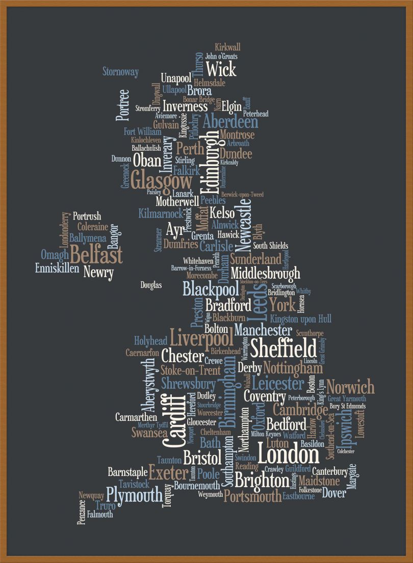 Large Great Britain UK City Text Art Map - Black (Wood Frame - Teak)