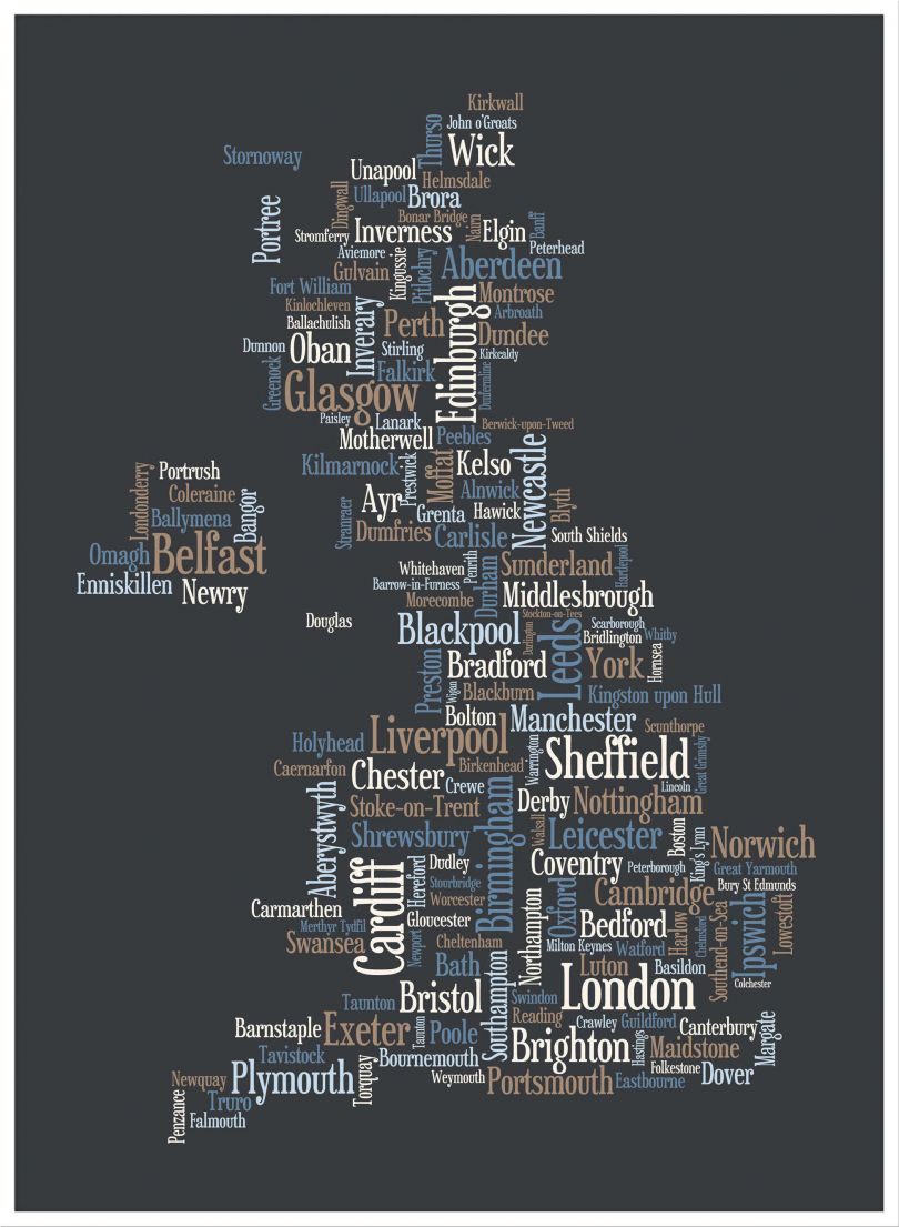 Large Great Britain UK City Text Art Map - Black (Pinboard & wood frame - White)
