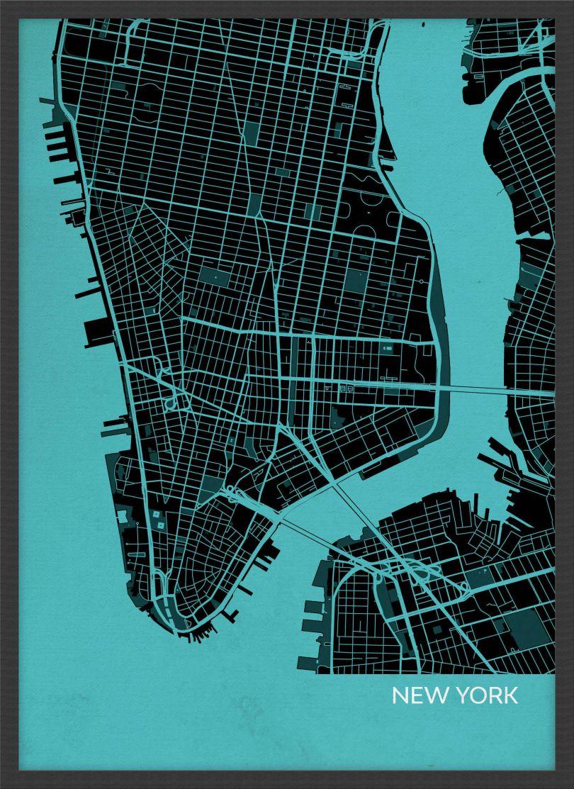 A3 New York City Street Map Print Turquoise (Wood Frame - Black)