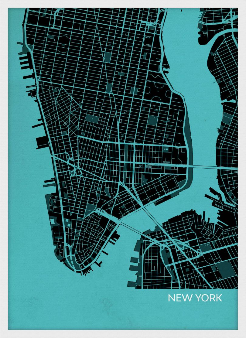 A3 New York City Street Map Print Turquoise (Wood Frame - White)