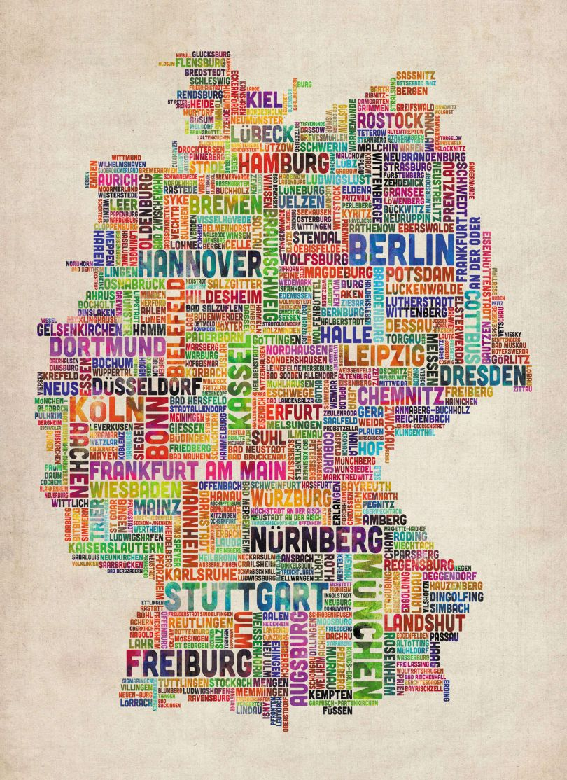 Huge Text Art Map of Germany (Rolled Canvas - No Frame)