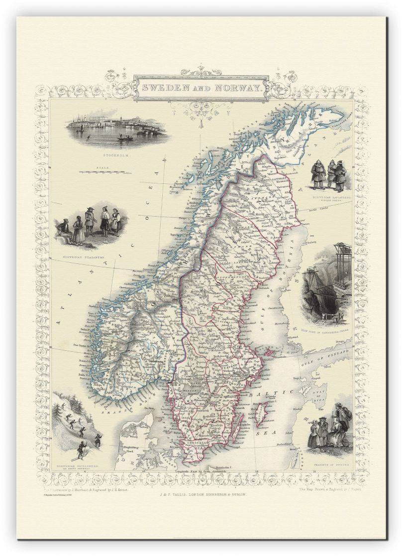 Large Vintage John Tallis Map of Sweden and Norway 1851 (Canvas)