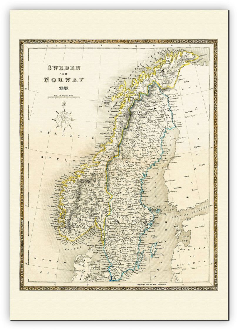 Extra Small Vintage John Tallis Map of Sweden and Norway 1852 (Canvas)
