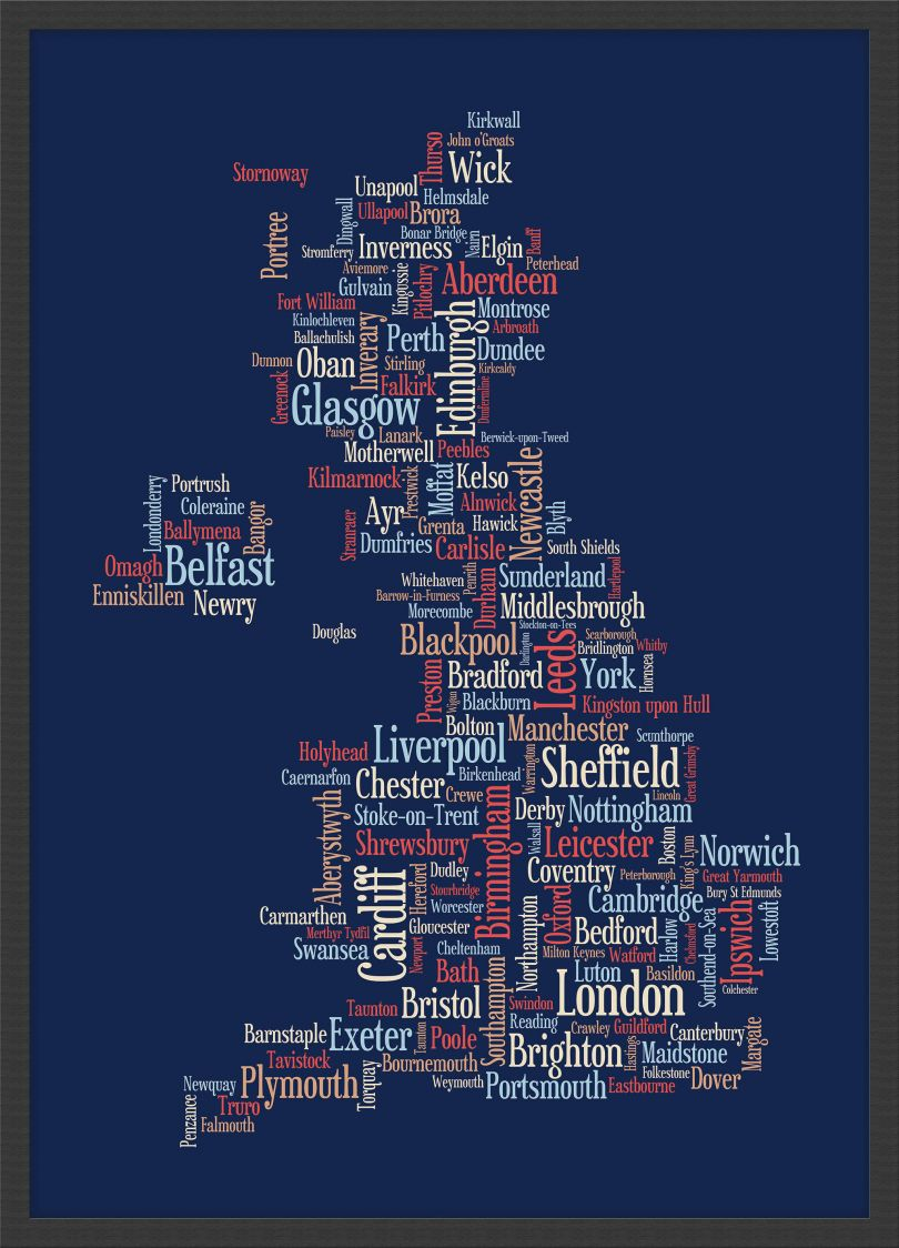 Small Great Britain UK City Text Art Map - Blue (Wood Frame - Black)