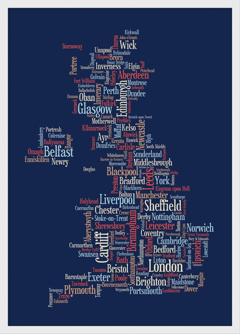 Medium Great Britain UK City Text Art Map - Blue (Pinboard & wood frame - White)