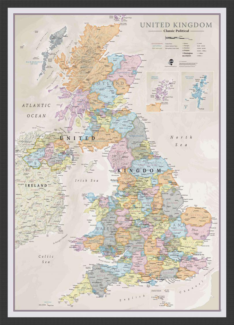 Medium UK Classic Wall Map (Wood Frame - Black)