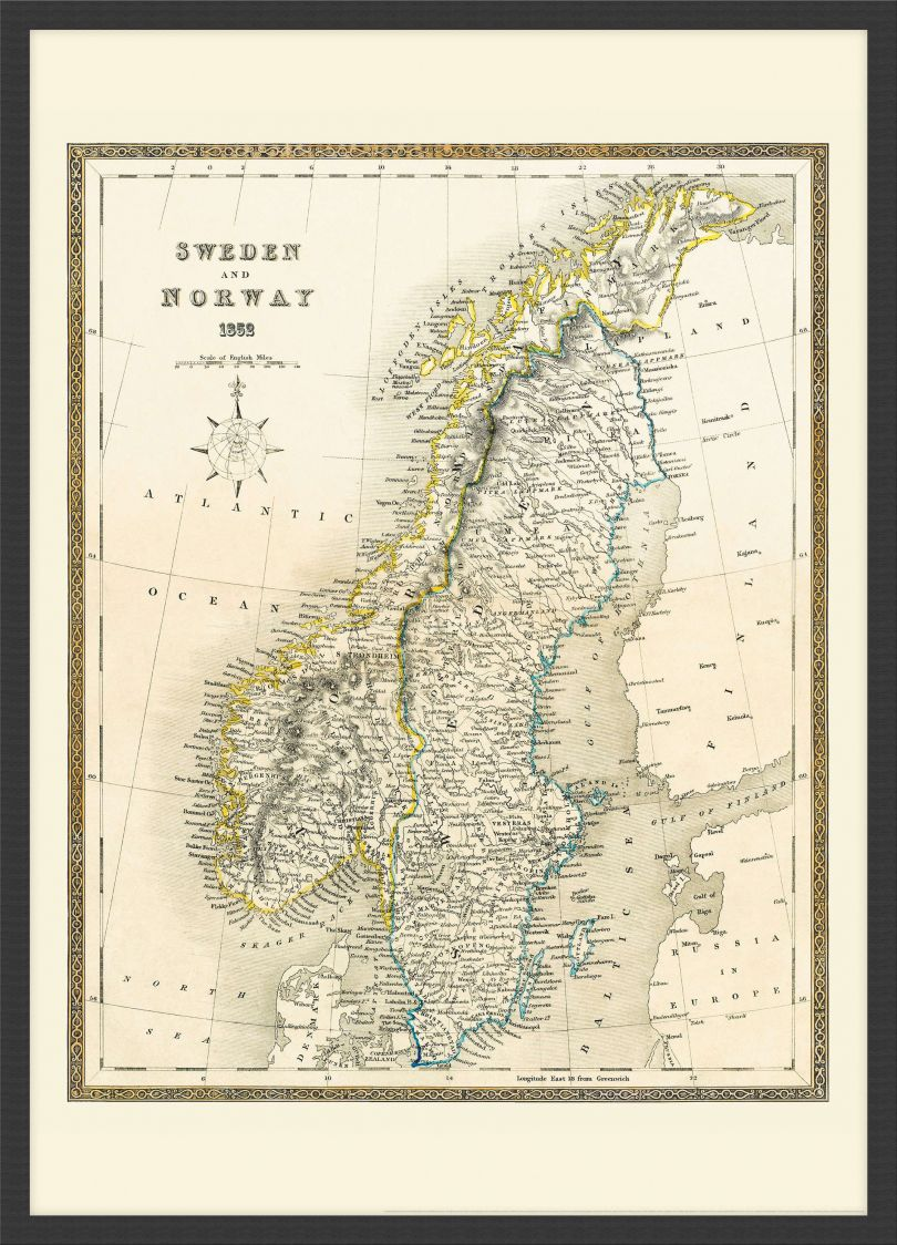 Small Vintage John Tallis Map of Sweden and Norway 1852 (Wood Frame - Black)