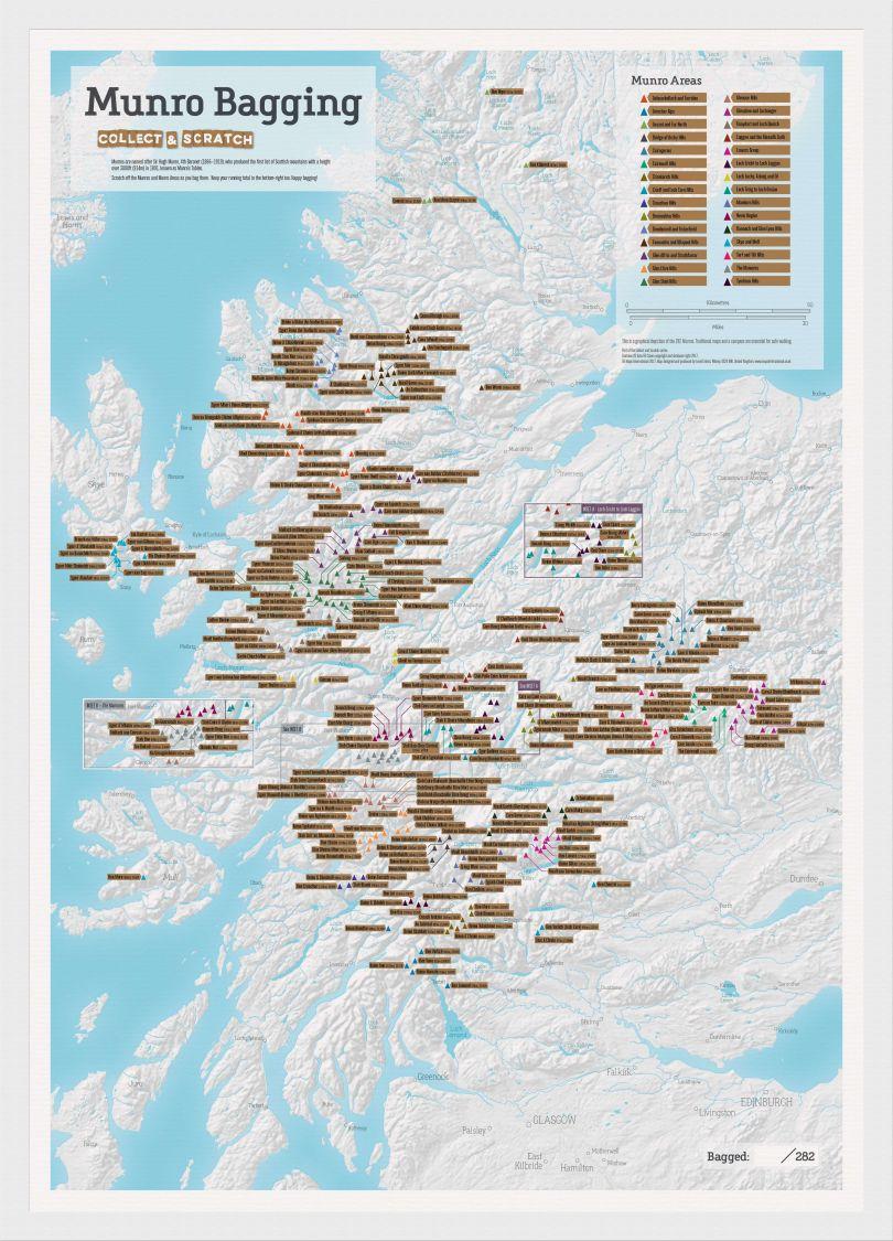 Scratch Off Munro-bagging Print (Pinboard & wood frame - White)