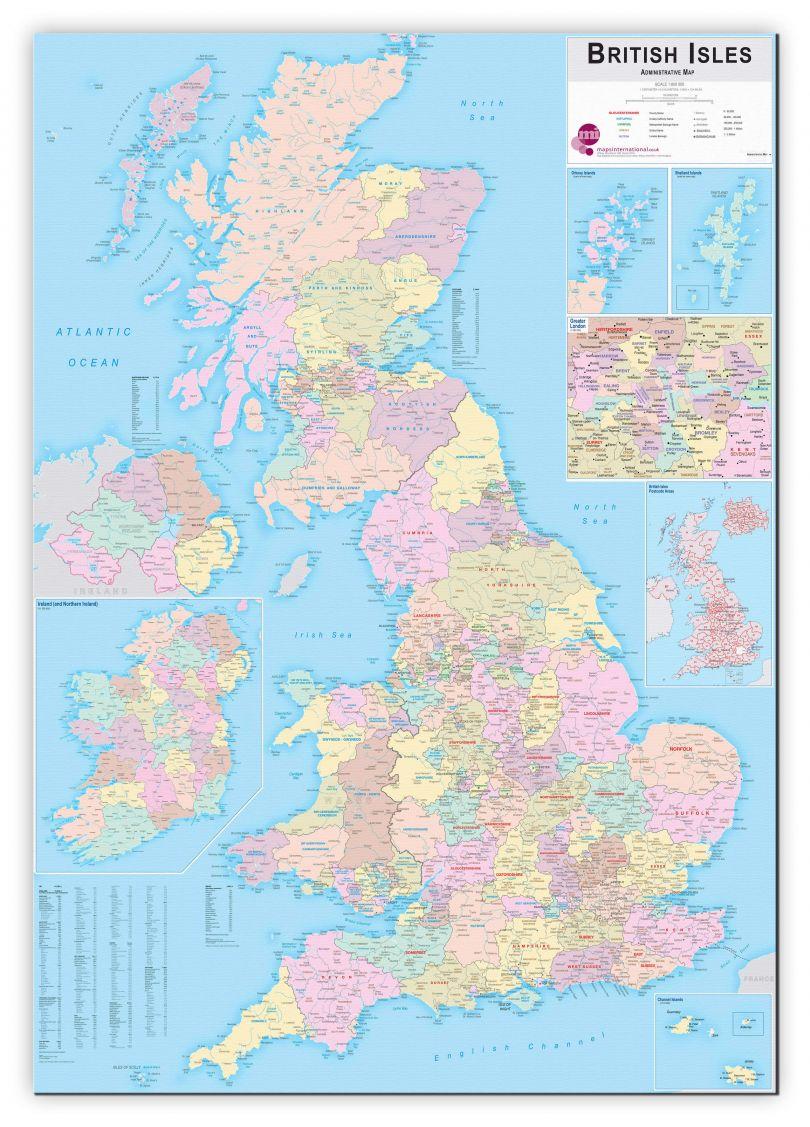 Large British Isles Administrative Map (Canvas)