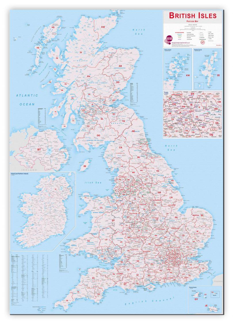 Large British Isles Postcode Map (Canvas)