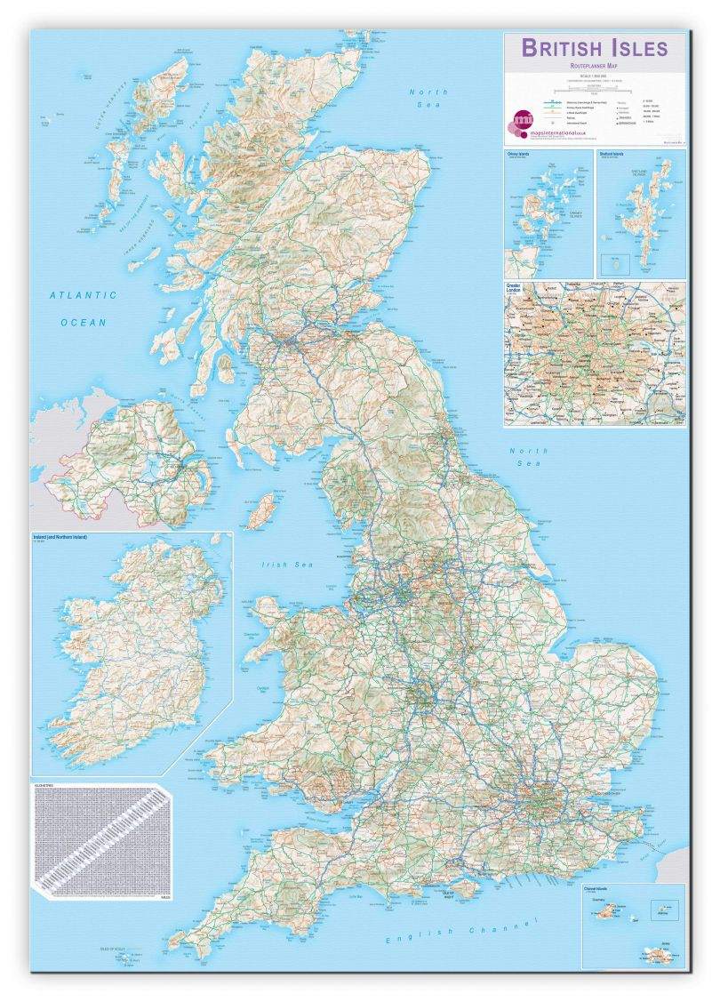 Huge British Isles Routeplanning Map (Canvas)